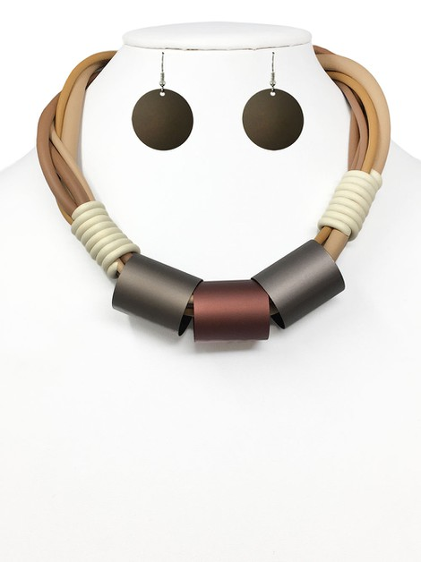MULTI CORD NECKLACE WITH EARRING SET - orangeshine.com