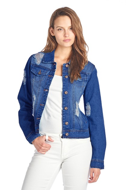 WOMENS DESTROYED DENIM JEAN JACKET - orangeshine.com