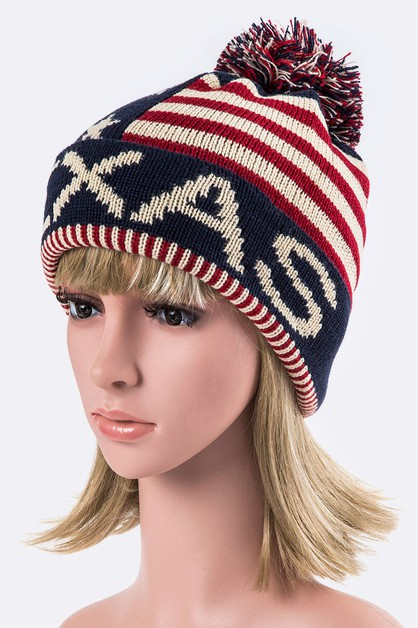 Texas USA Flag PomPom Beanie - orangeshine.com