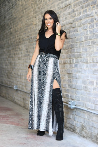 BLACK SNAKE LONG SKIRT - orangeshine.com