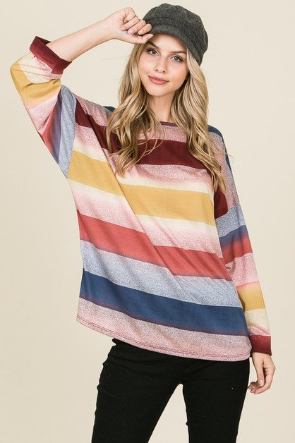 OVERSIZE FIT STRIPE LONG SLEEVE TOP - orangeshine.com