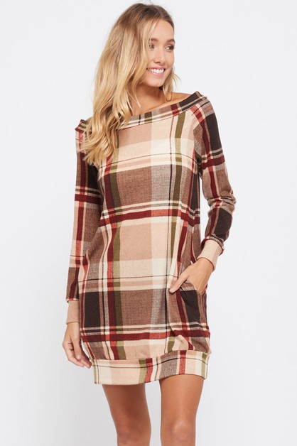 OFF SHOULDER PLAID TUNIC - orangeshine.com
