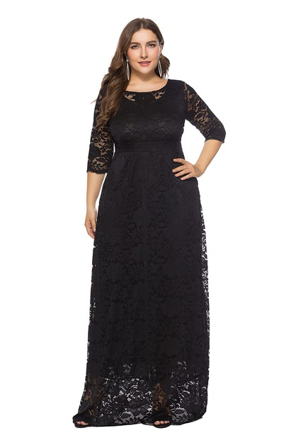 Plus Size Lace Maxi Dresses - orangeshine.com