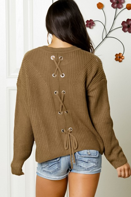 LACE UP BACK LONG SLEEVE KNIT SWEATE - orangeshine.com