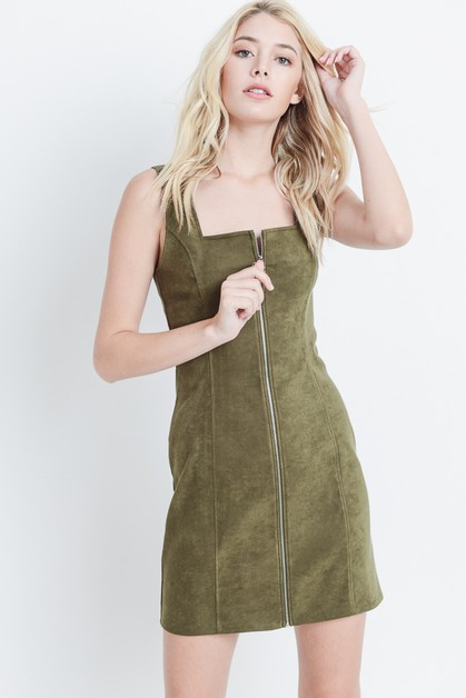 Suede Zip Front Dress - orangeshine.com