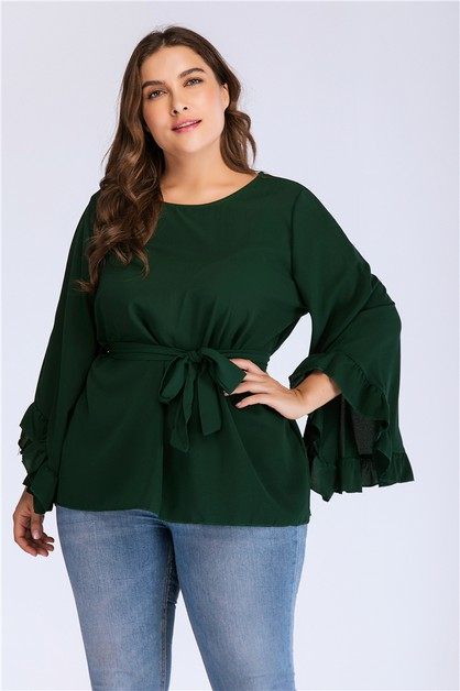Solid Plus Size Long Sleeve Top - orangeshine.com