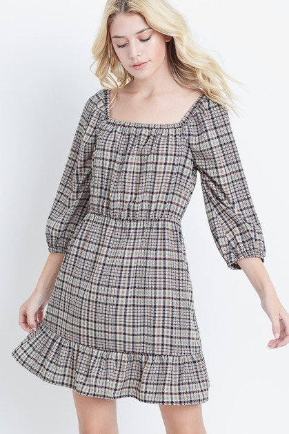 Plaid Square Neck Chiffon Dress - orangeshine.com
