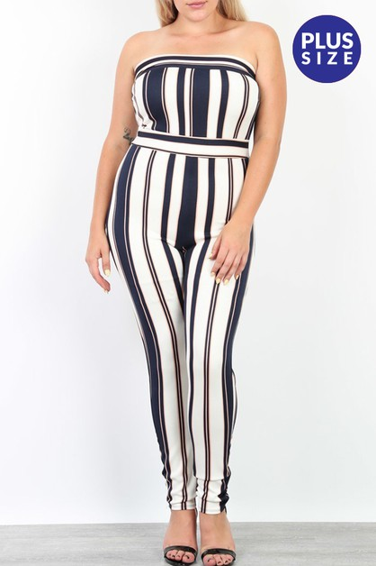 Striped Tube Jumpsuit - orangeshine.com