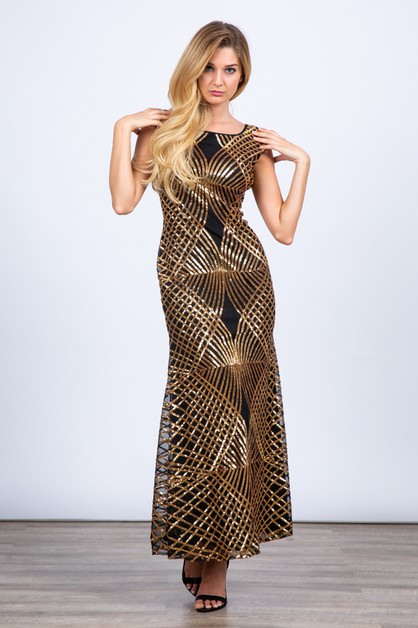 Sequin Sleeveless Mermaid Dress - orangeshine.com