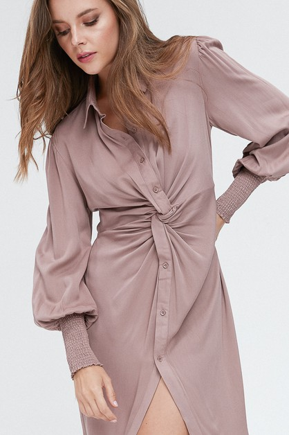 TWISTED FRONT SHIRT DRESS - orangeshine.com