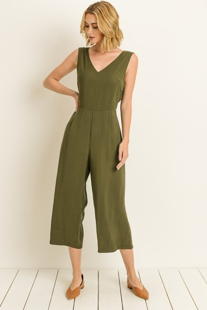Back Tie Cropped Jumpsuit  - orangeshine.com