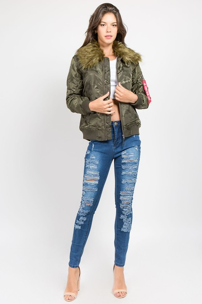 CAMO BOMBER JACKET WITH FUR - orangeshine.com