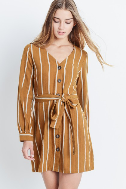 Striped Belted Dress - orangeshine.com