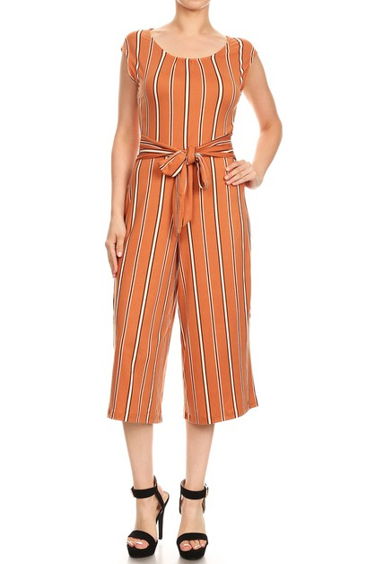 Orange Stripe Jumpsuit Sash Tie Boho - orangeshine.com
