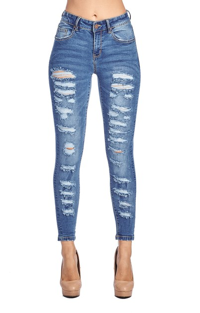 WOMENS DESTROYED SKINNY DENIM JEANS  - orangeshine.com