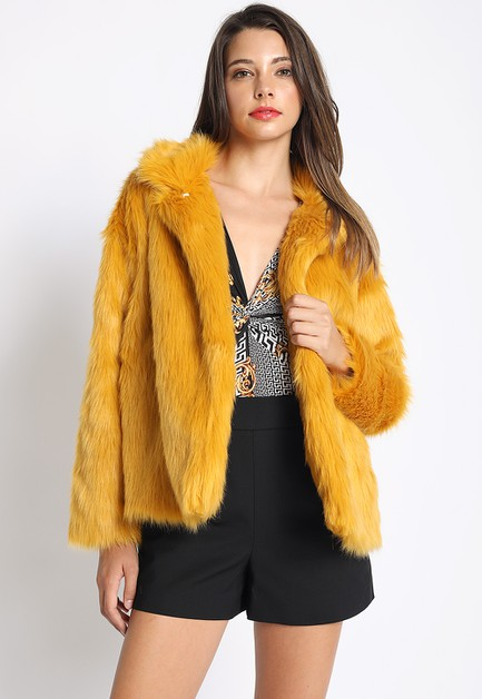 COLLARED FAUX FUR JACKET - orangeshine.com