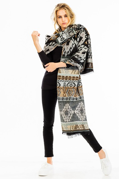 Tribal Print Oblong Scarves - orangeshine.com
