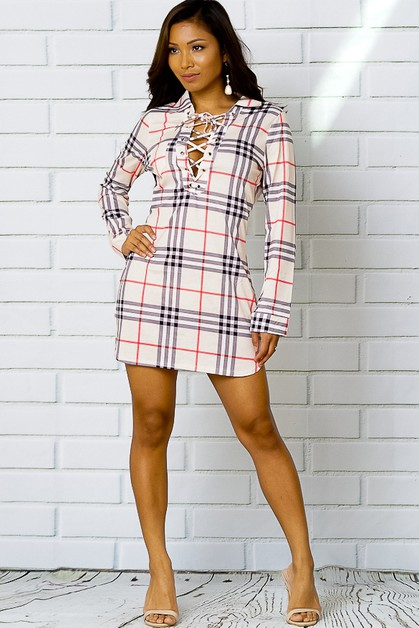 PLAID LACE UP COLLAR  MINI DRESS - orangeshine.com