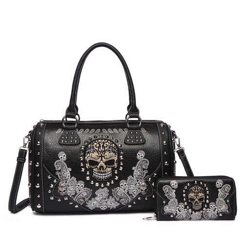 Skull Paisley Satchel and Wallet - orangeshine.com