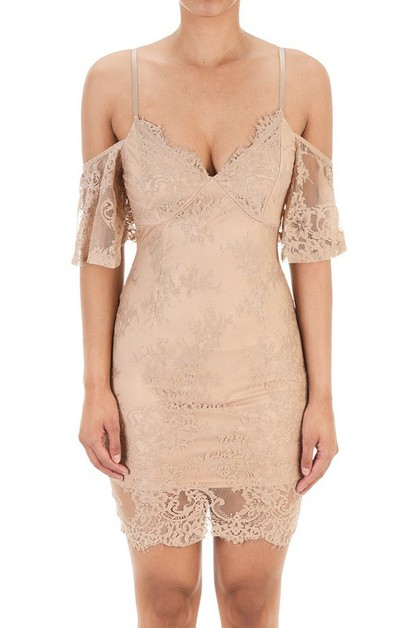 Cold Shoulder Lace Midi Dress - orangeshine.com