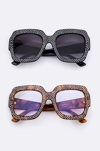 Crystal Studded Oversize Sunglasses - orangeshine.com