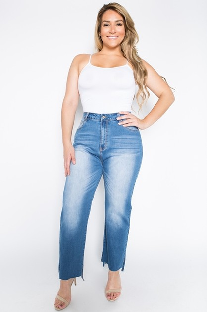 Plus Size High Waist Washed Jeans - orangeshine.com