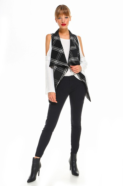 Open-Front Draped Plaid Vest - orangeshine.com