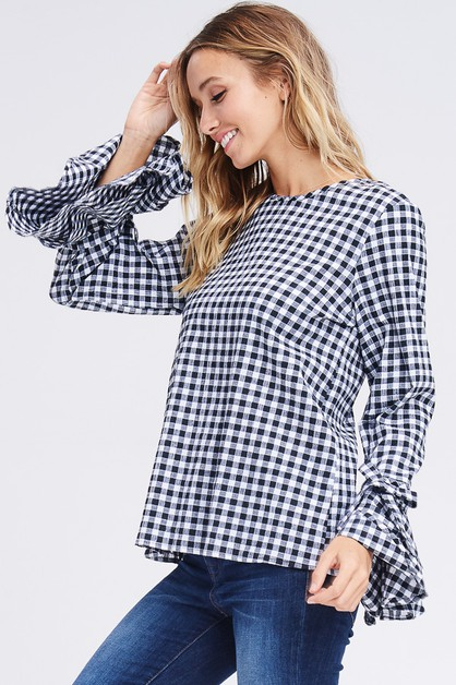 Checker Ruffled Bell Sleeve Top - orangeshine.com