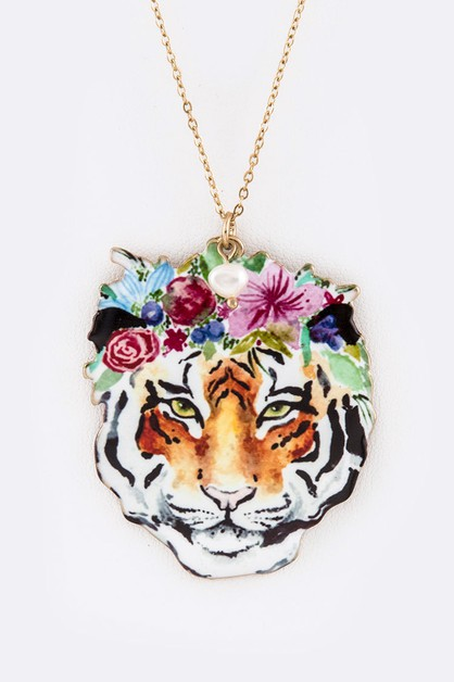 Floral Crown Tiger Pendant Necklace  - orangeshine.com