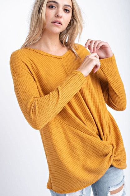 Front Knot Tie V-Neck Top - orangeshine.com