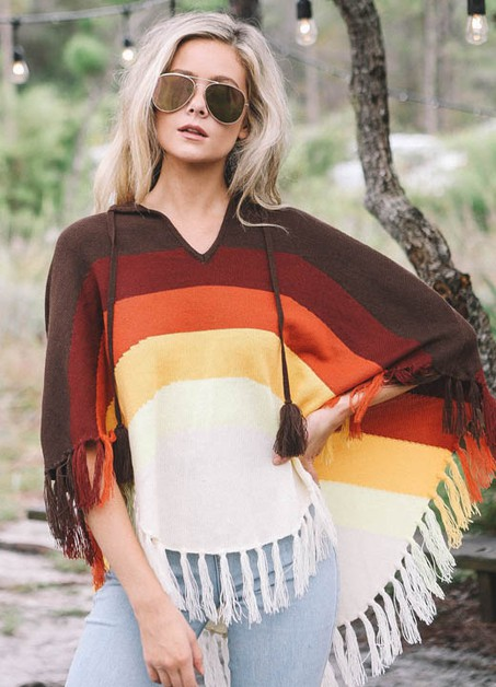 MULTI COLORED PONCHO WITH FRINGE - orangeshine.com