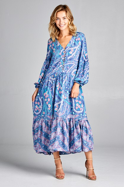 Boho Print Maxi Dress PR84920 - orangeshine.com