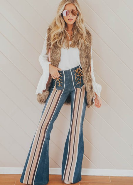 DARK DENIM FLARE PANTS - orangeshine.com