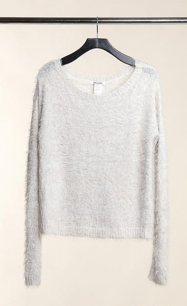 Fuzzy Textured Pullover Sweater - orangeshine.com