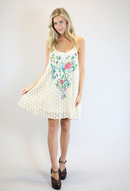 NATURAL CROCHET SWING TANK DRESS - orangeshine.com