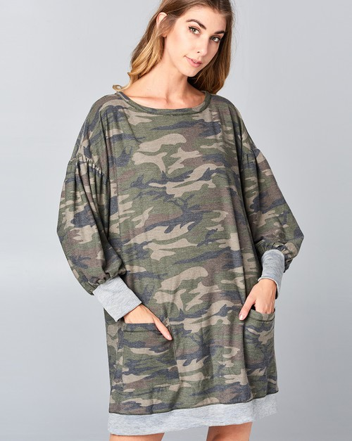 Camouflage boatneck dress - orangeshine.com