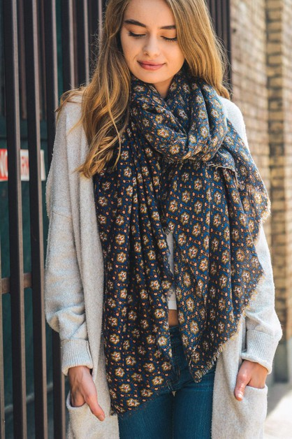 Harvest frayed Trim Scarf  - orangeshine.com