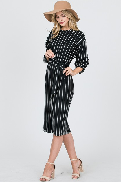 ROUND NECK PIN PLEATS SLEEVE DRESS - orangeshine.com