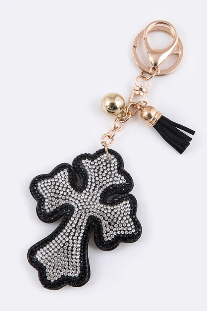 Crystal Cross Puff Key Chain - orangeshine.com