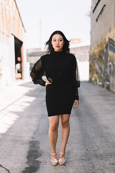 High Neck Laced Knitted Mini Dress - orangeshine.com