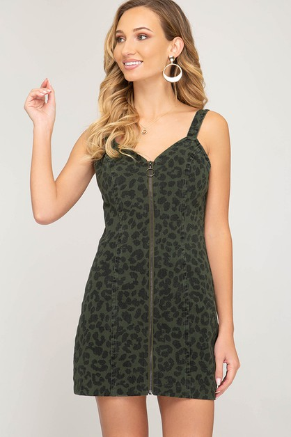 WOVEN WASHED LEOPARD TANK DRESS - orangeshine.com