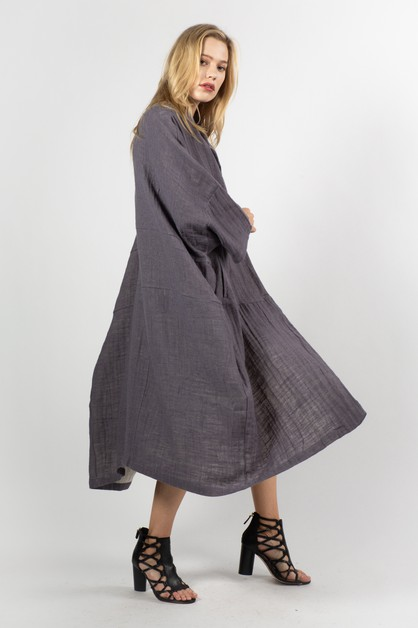 Linen-like Textured Boxy Coat - orangeshine.com