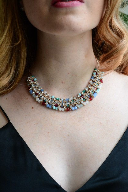 Bead and Crystal Bib Necklace  - orangeshine.com
