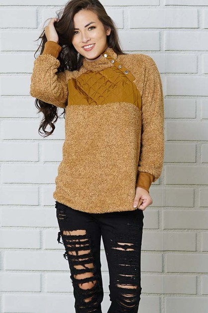 button long sleeve high neck tops - orangeshine.com