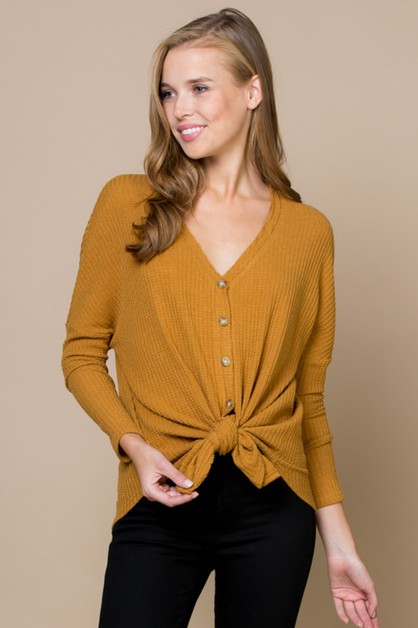 BRUSHED WAFFLE KNIT BUTTON DOWN TOP  - orangeshine.com