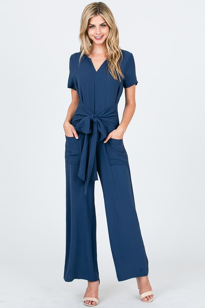 Short Sleeve Front Tie Jumpsuit - orangeshine.com