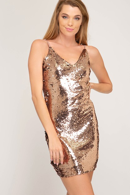 SL8131 - SEQUIN CAMI BODYCON - orangeshine.com