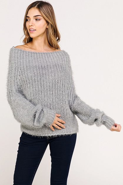 OFF THE SHOULDER COZY KNIT SWEATER - orangeshine.com