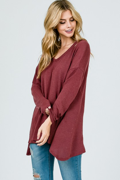 Loose fit long sleeve knit Top - orangeshine.com