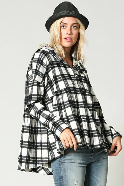 PLAID HOOD WITH BUTTONS - orangeshine.com